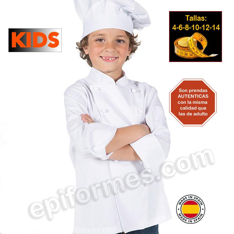 Chaqueta infantil cocinero blanca