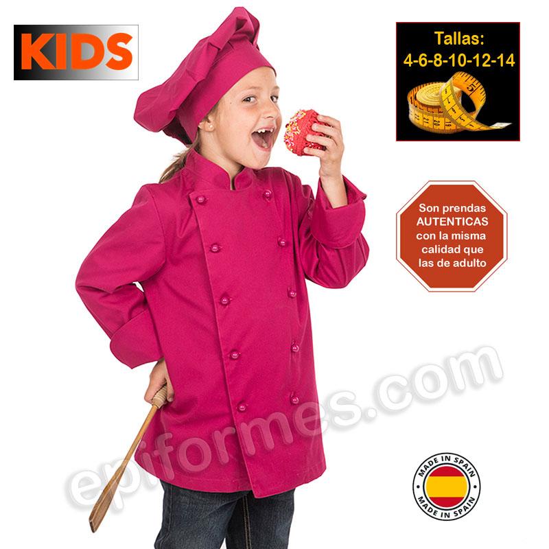 Chaqueta infantil cocinero frambuesa