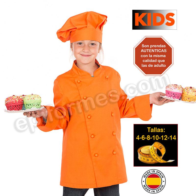 Chaqueta infantil cocinero naranja