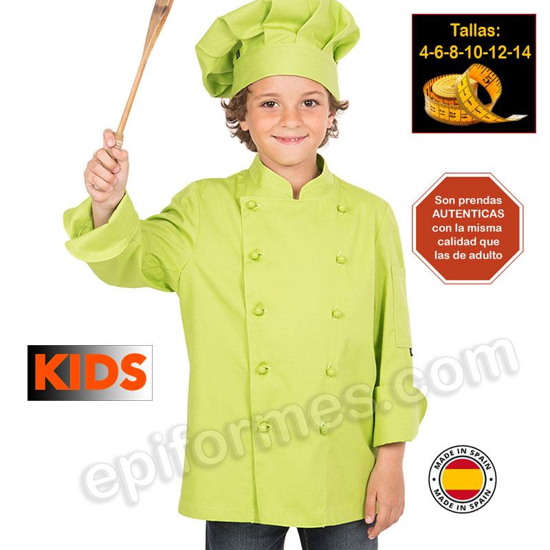 Chaqueta infantil cocinero pistacho