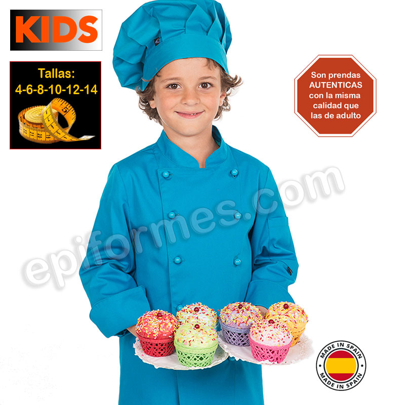 Chaqueta de cocina infantil, turquesa