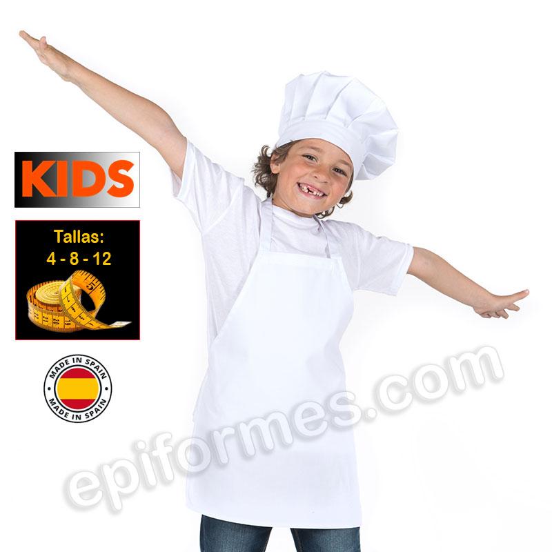 Delantal de cocina infantil, blanco