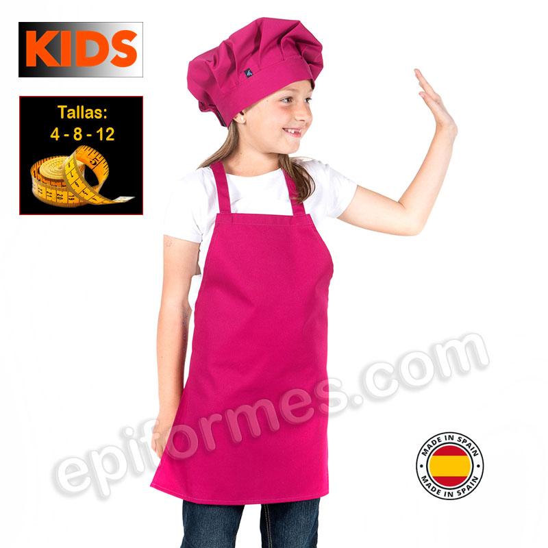 Delantal de cocina infantil, frambuesa