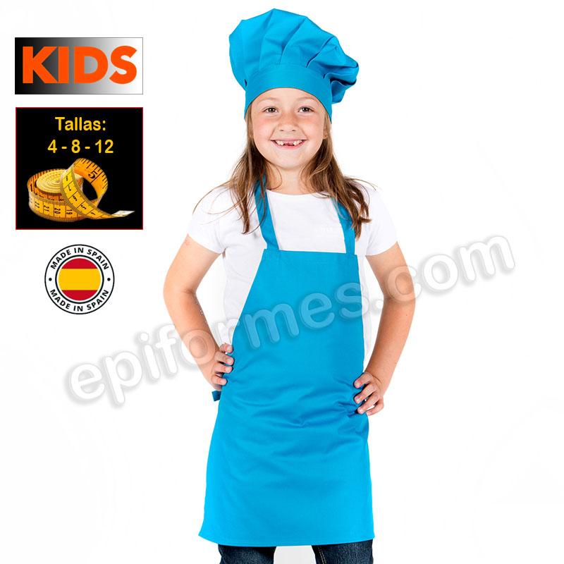 Delantal de cocina infantil, turquesa