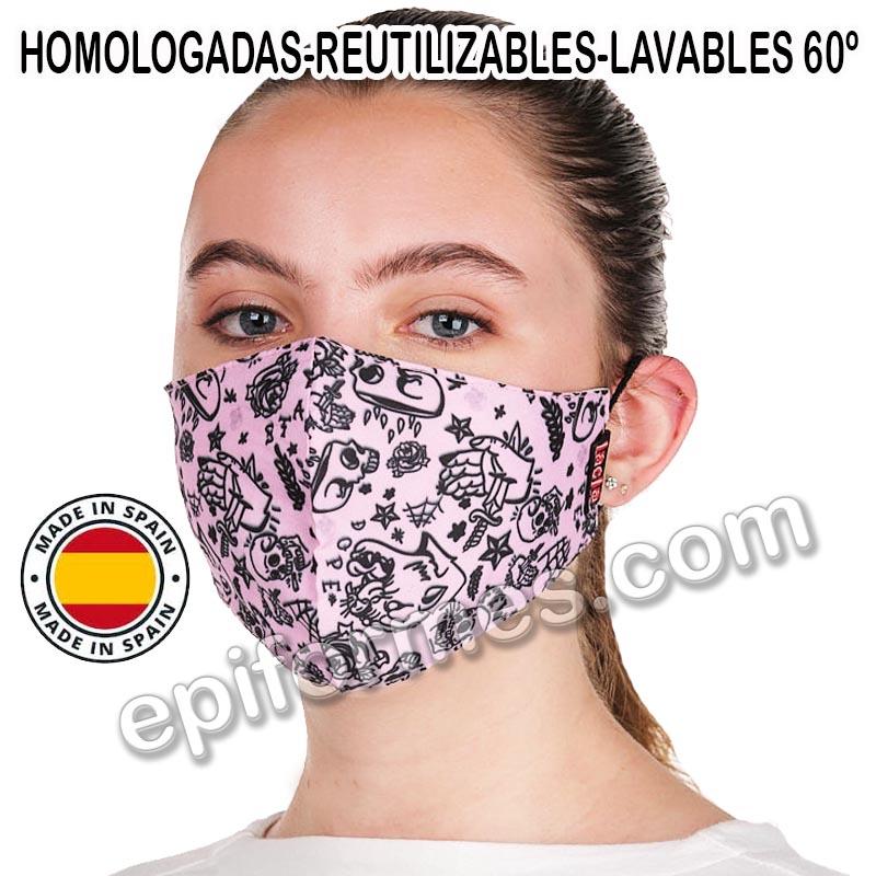 Mascarilla HOMOLOGADA joven, Tatoo rosa