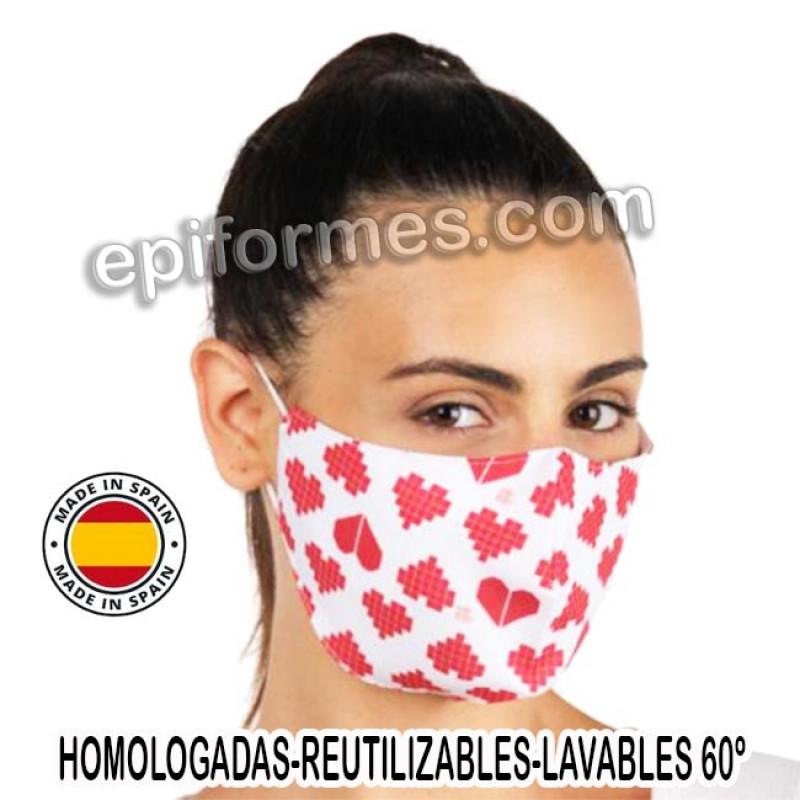 Mascarilla HOMOLOGADA reutilizable corazones