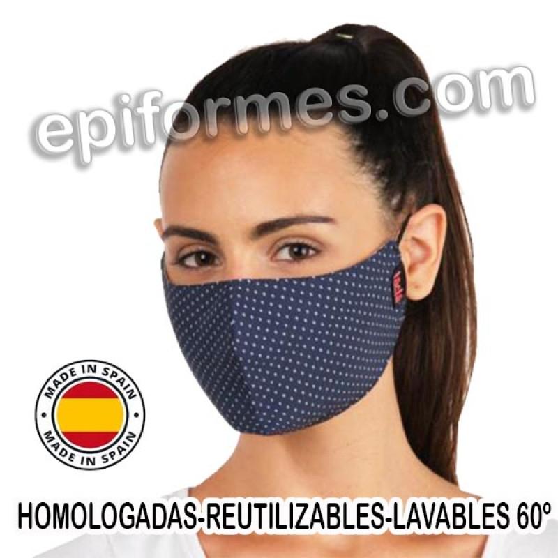 Mascarilla HOMOLOGADA reutilizable topos azul