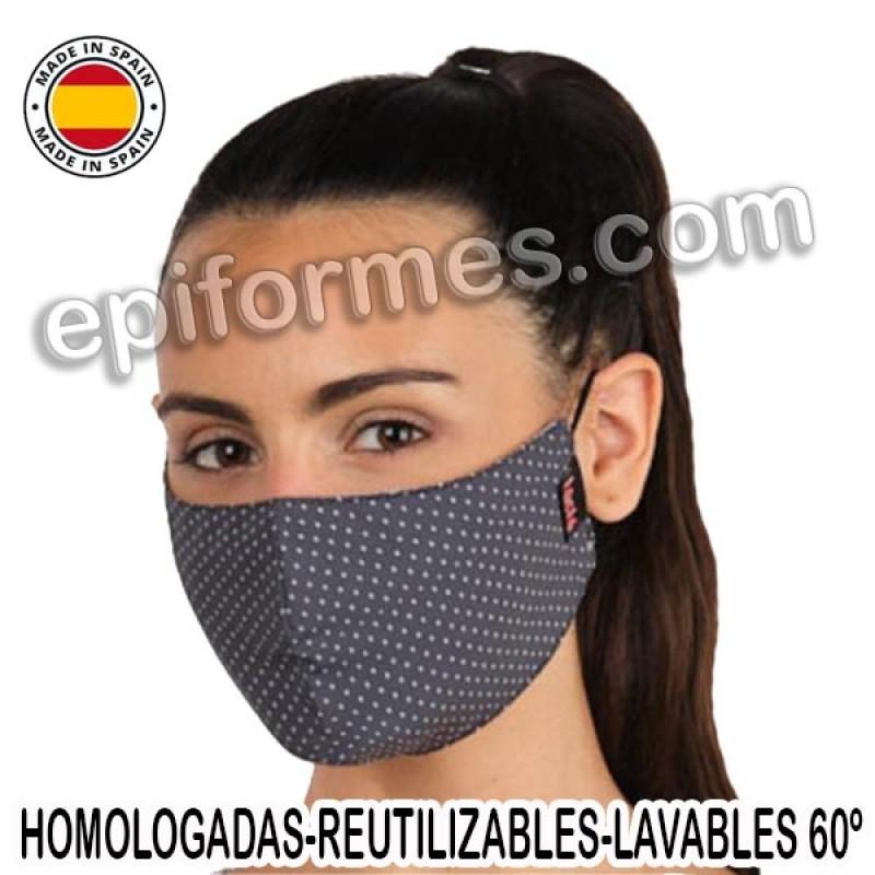 Mascarilla HOMOLOGADA reutilizable topos en gris