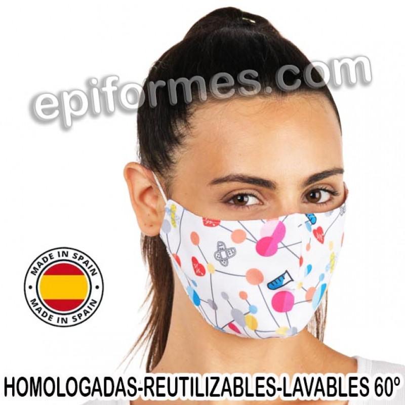 Mascarilla HOMOLOGADA estampado moleculas