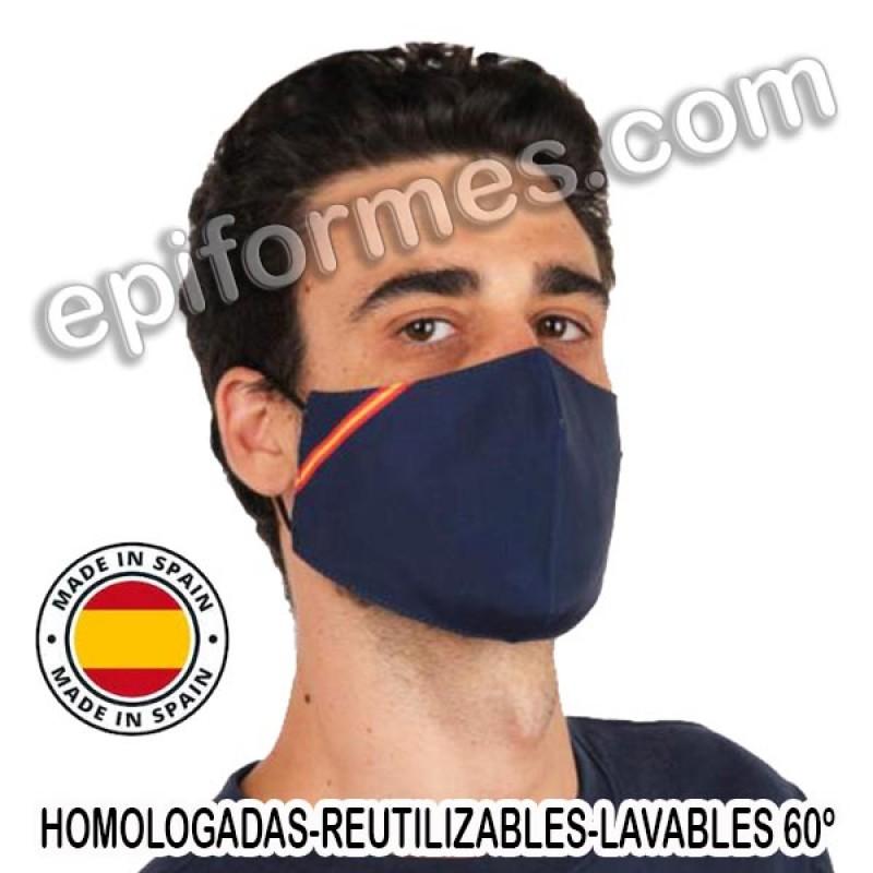 Mascarilla HOMOLOGADA reutilizable azul bandera Es...
