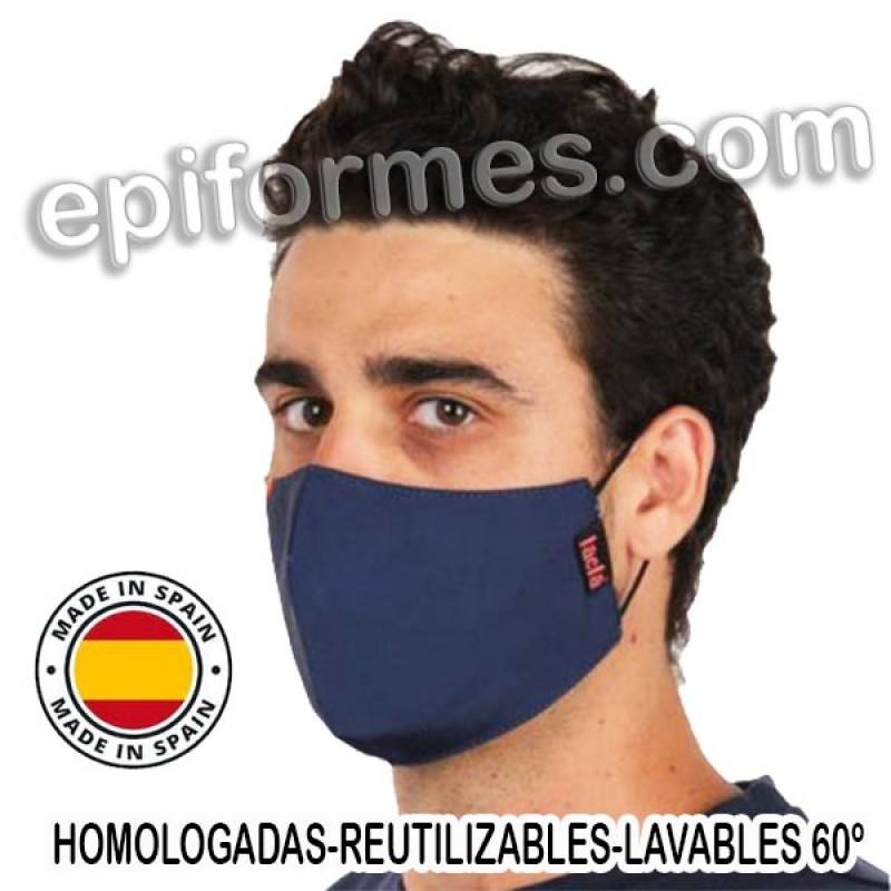 Mascarilla HOMOLOGADA reutilizable azul bandera España