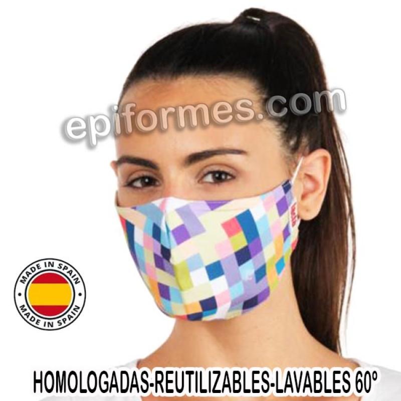 Mascarilla HOMOLOGADA estampado cuadros