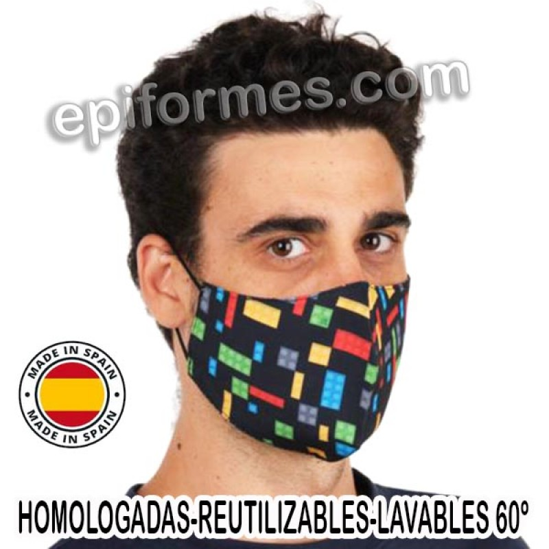 Mascarilla HOMOLOGADA reutilizable lego
