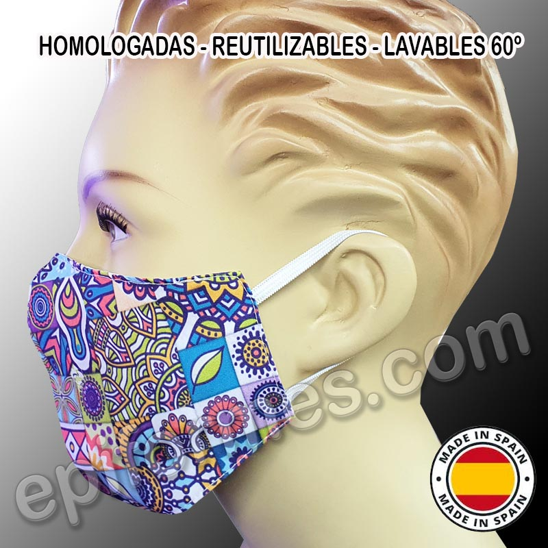 Mascarilla HOMOLOGADA reutilizable mandala