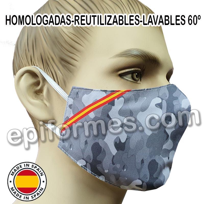 Mascarilla HOMOLOGADA reutilizable camuflaje Espa�...