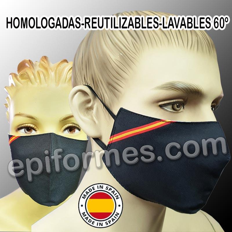 Mascarilla HOMOLOGADA reutilizable negra bandera E...