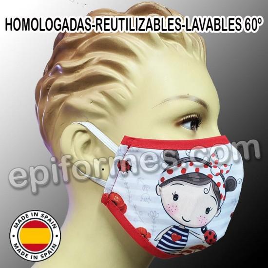 Mascarilla HOMOLOGADA niña amapola