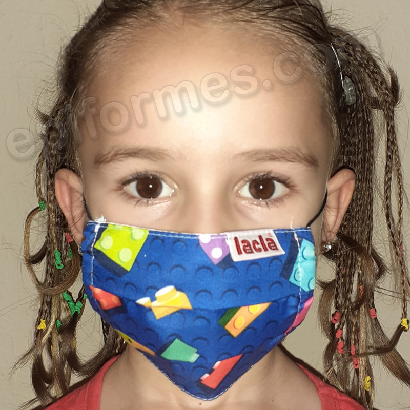 Mascarilla infantil Equivalente FFTP2 lego azul