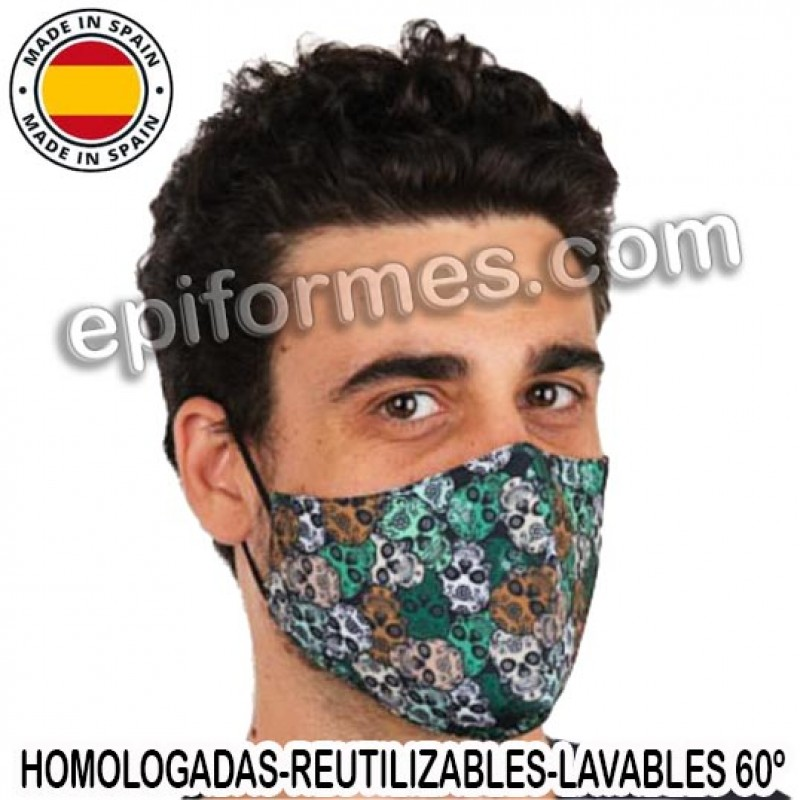 Mascarilla HOMOLOGADA reutilizable calaveras