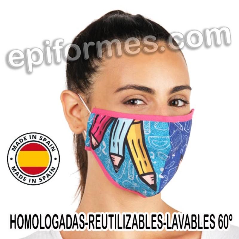 Mascarilla HOMOLOGADA lápìces de colores
