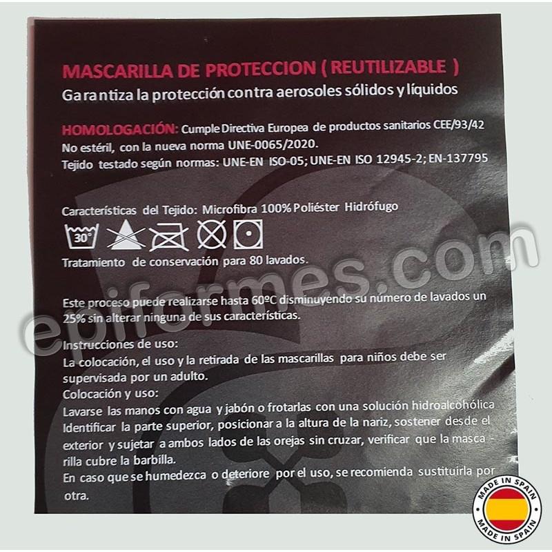 Mascarilla HOMOLOGADA reutilizable negra bandera España