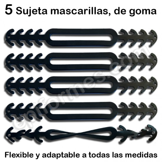 5 Sujeta mascarillas de goma adaptables