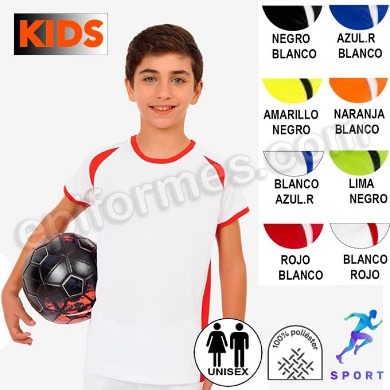 Camiseta técnica niño combinada 8 colores