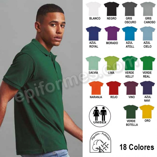 Polo manga corta unisex 18 colores