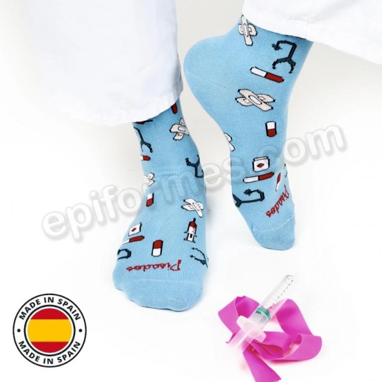 Calcetines de sanidad estampados Blue healthy tools