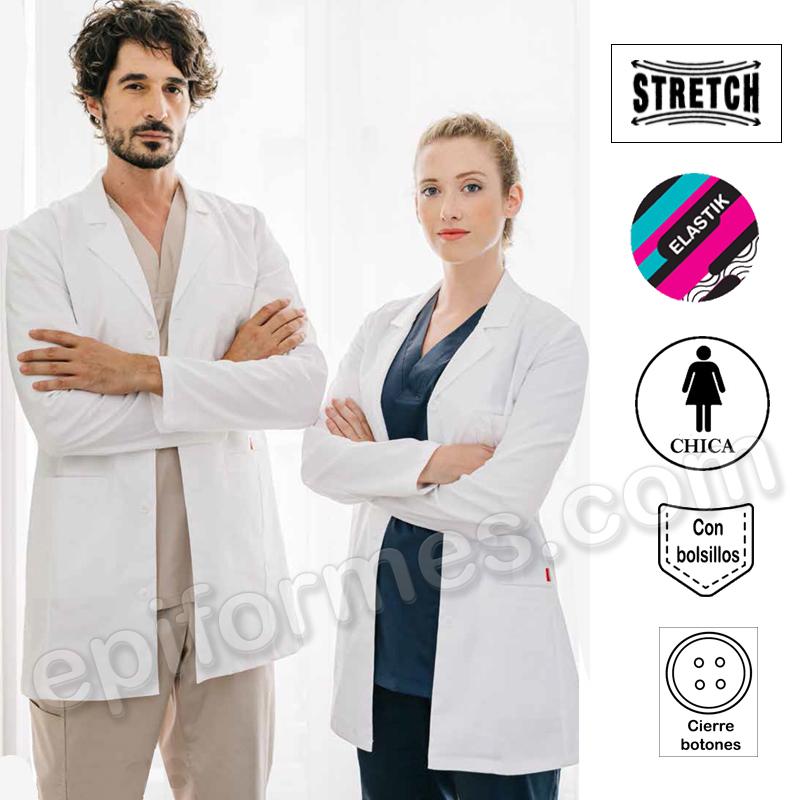 Bata sanitaria stretch corta hombre