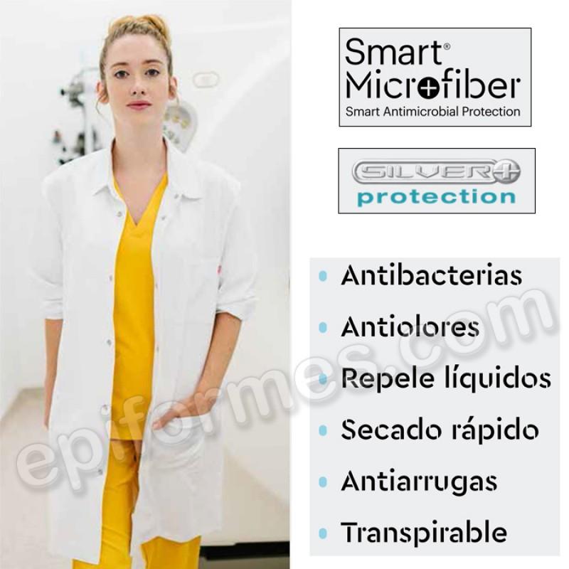 Bata sanitaria unisex, microfibra antibacterias