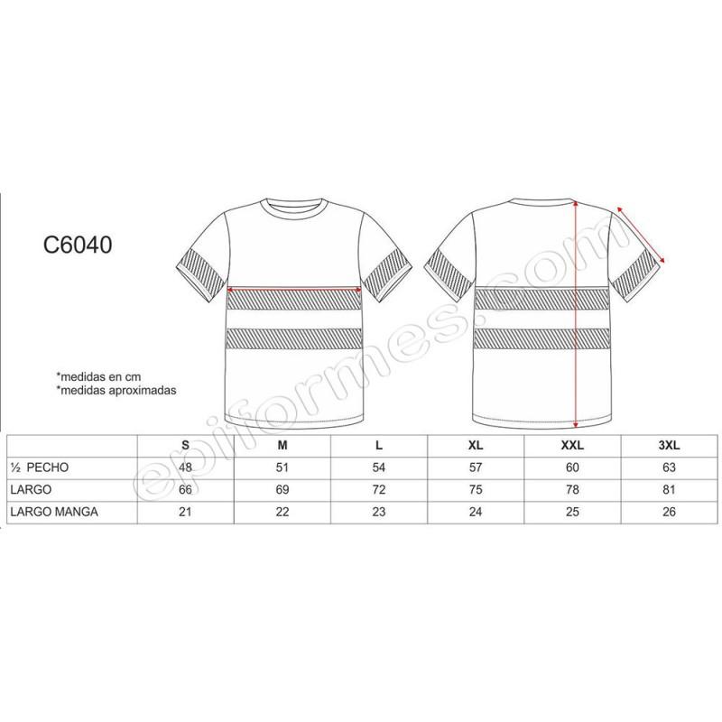 Camiseta de alta visibilidad de manga corta en poliéster.
