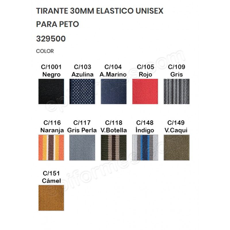 Tirantes elásticos para peto,11 colores