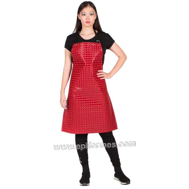 Delantal protector textura metálica roja