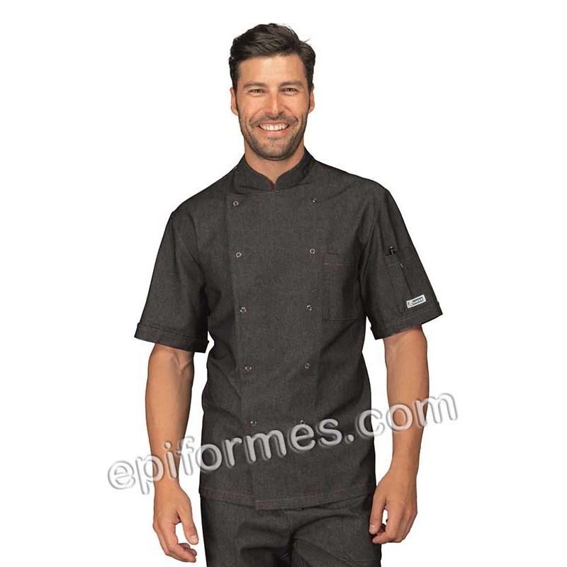 Chaqueta cocinero tejana negra con corchetes