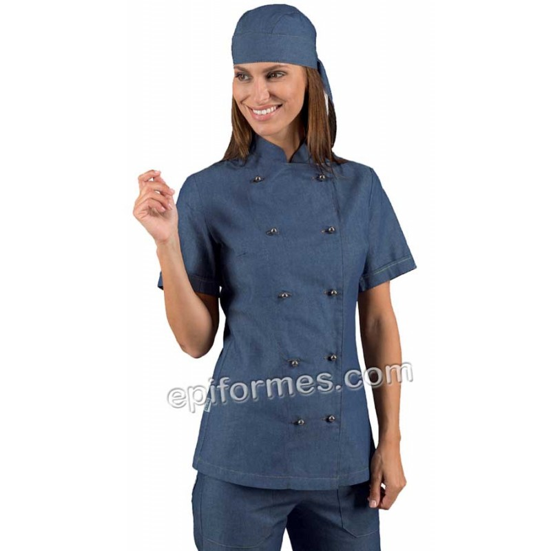Chaqueta cocinera vaquera azul