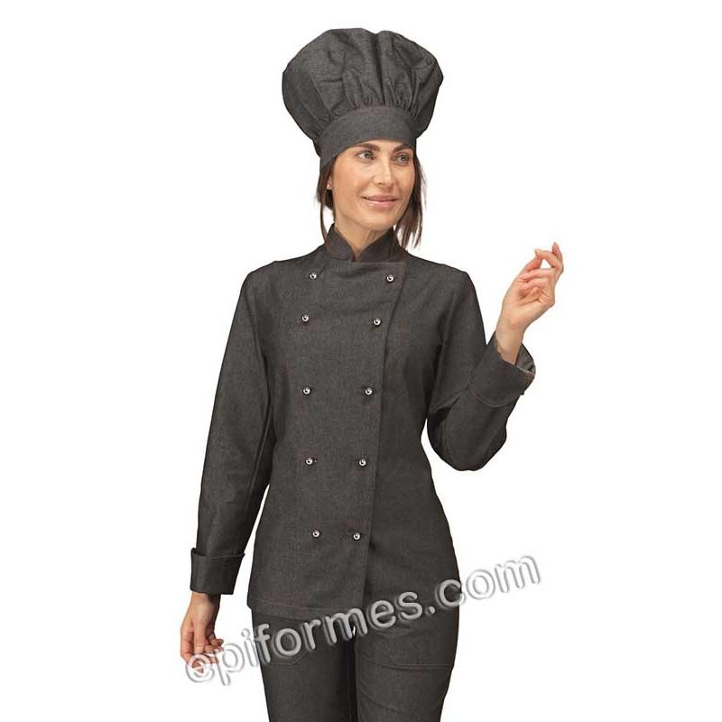 Chaqueta cocinera tejana negra