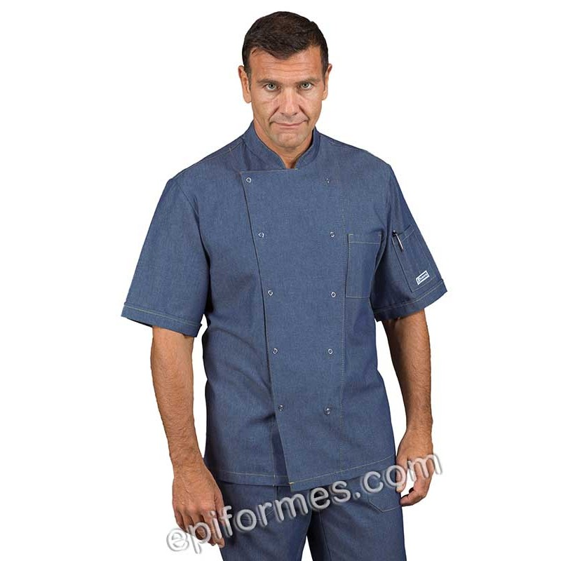 Chaqueta cocinero tejana azul con corchetes