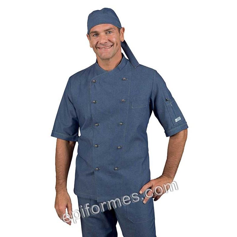 Chaqueta cocinero tejana azul