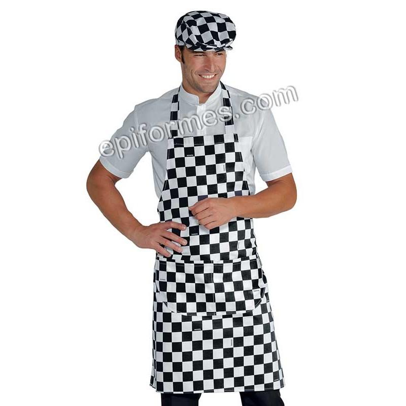 Delantal camarero cuadros con peto