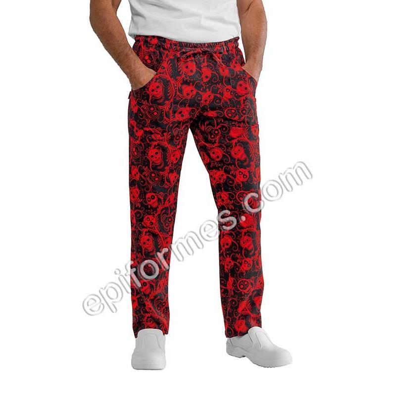 Pantalón  cocinero estampado Calaveras en rojo