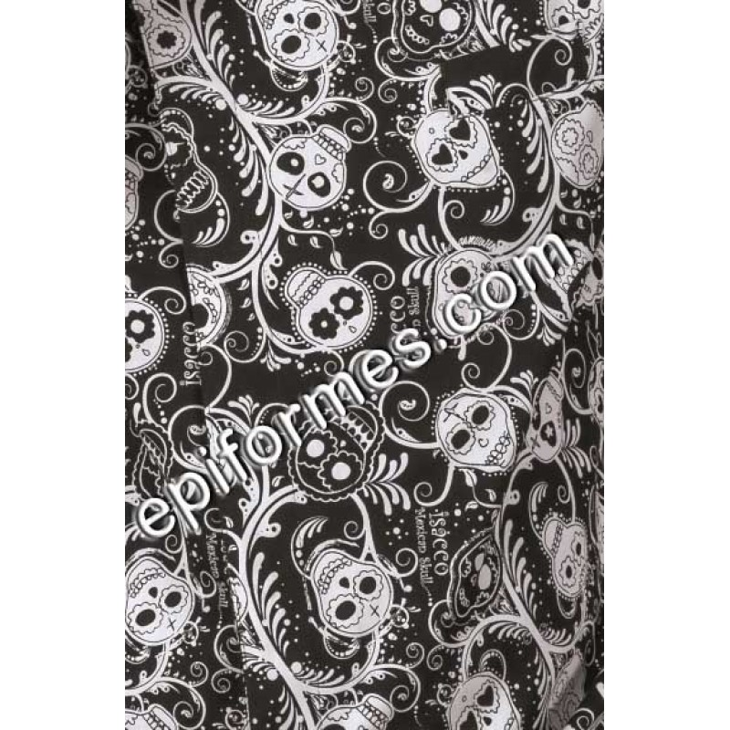 Pantalón  cocinero estampado Calaveras en negro