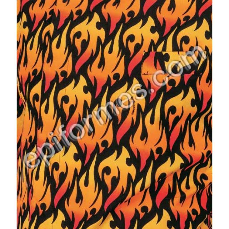 Pantalón  cocinero estampado llamas