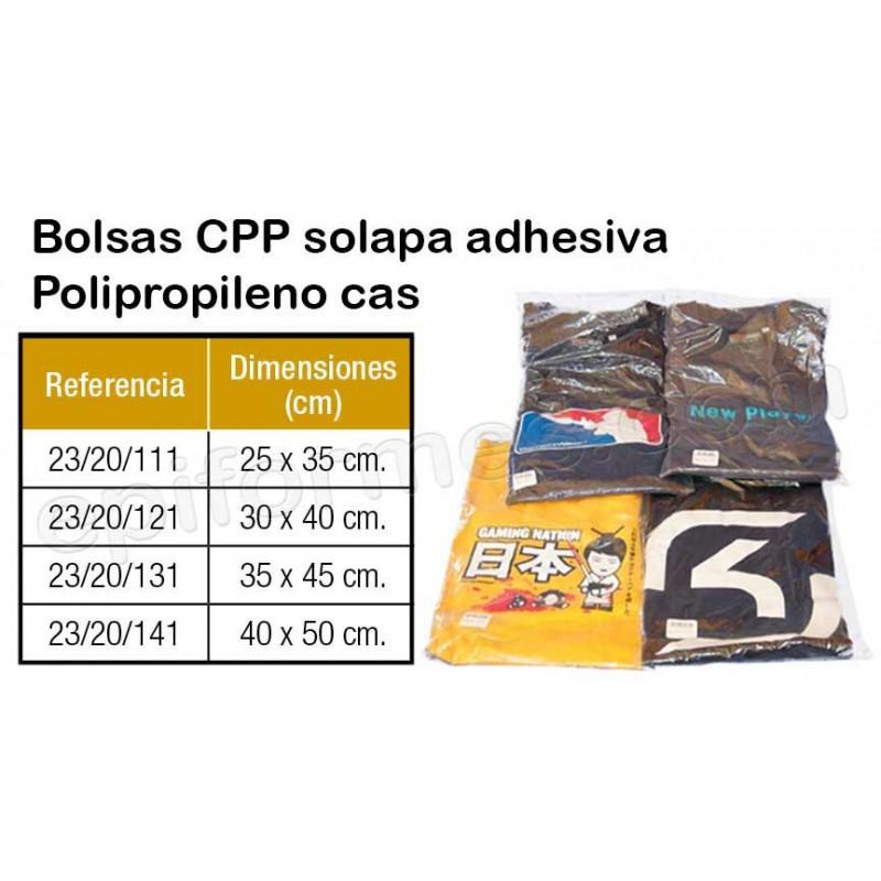1000  Bolsas CPP con solapa adhesiva (Polipropileno cast)
