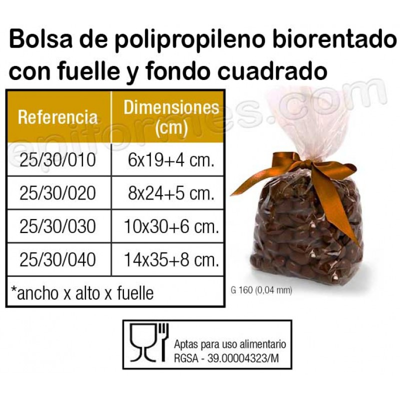1000 Bolsas polipropileno biorentado con fuelle,fo...