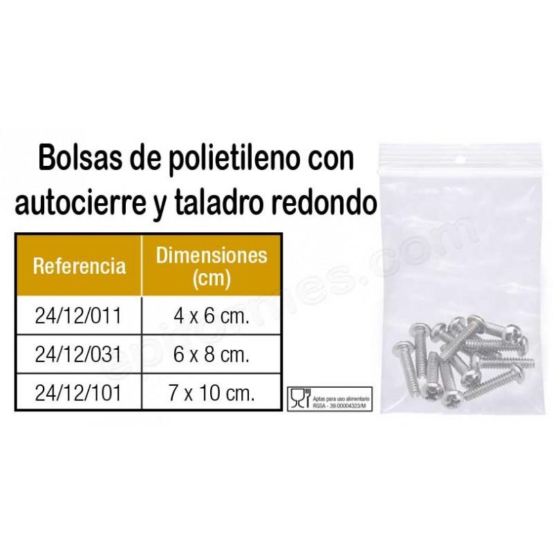 1000 Bolsas polietileno autocierre taladro redondo