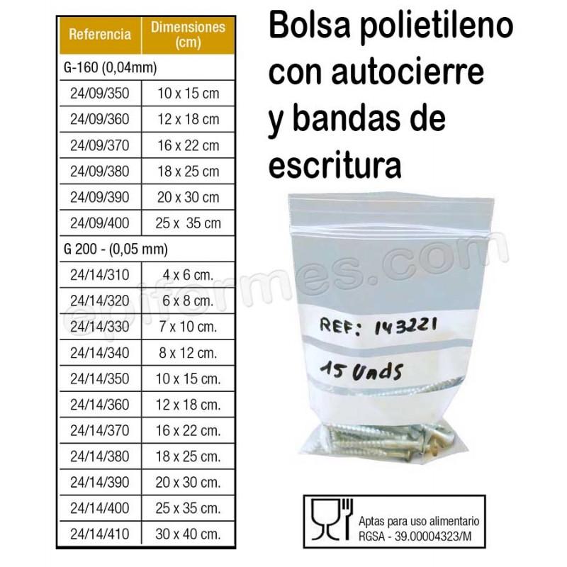 1000 Bolsas polietileno autocierre más bandas de ...