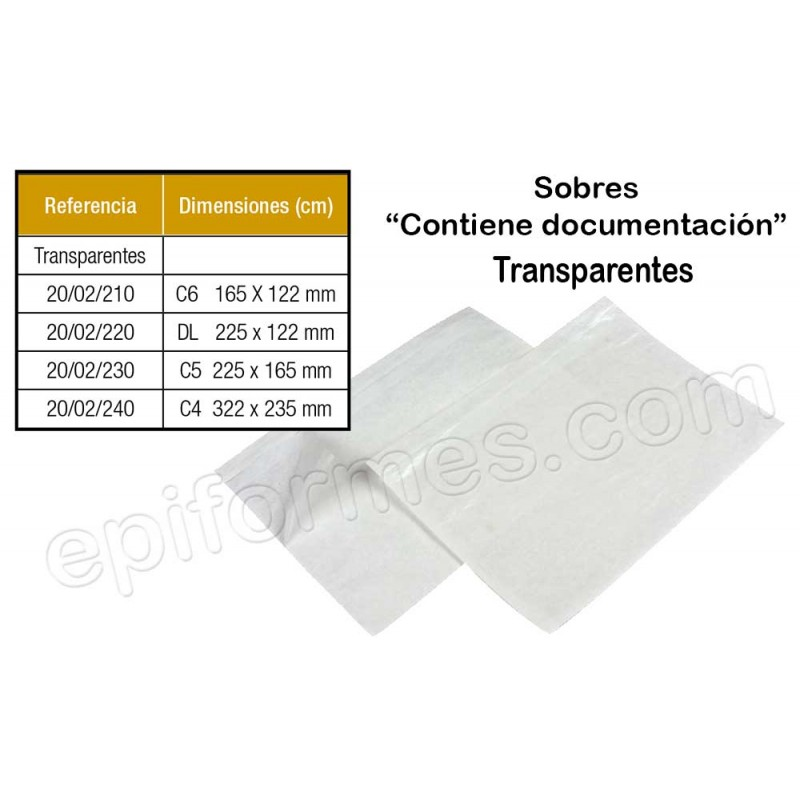 250 Sobres transparentes, para documentos.