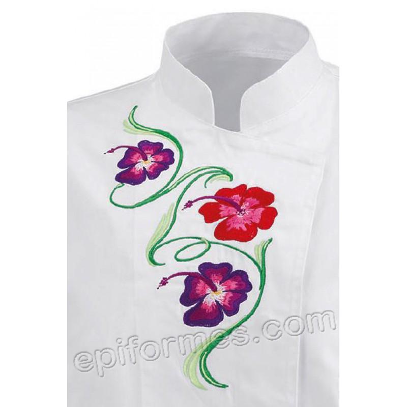 Chaqueta cocina bordado flores en blanca