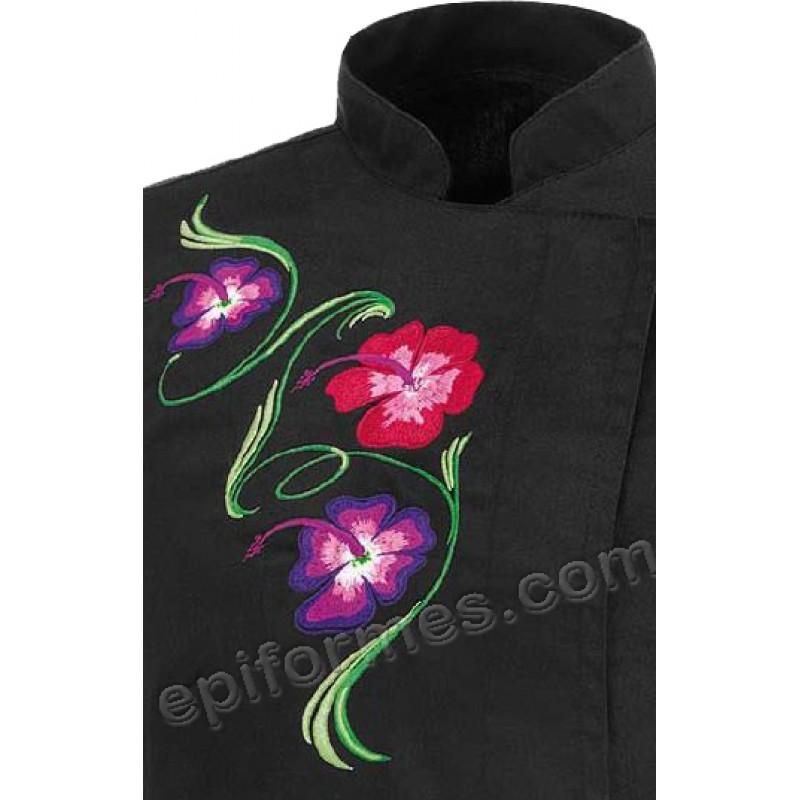Chaqueta cocina bordado flores